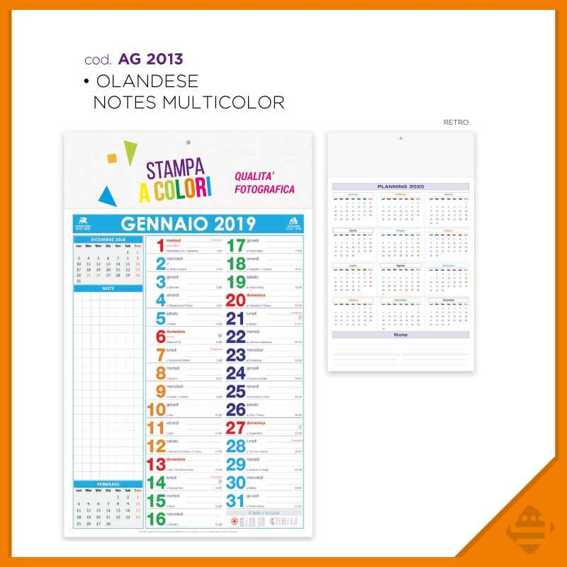 Calendario Planning.Calendario Notes Multicolor Golden Graphic