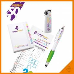 Blocco notes, calendario, penna e accendino